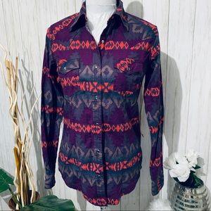 Wrangler Aztec Stripe Snap Western Shirt Size S
